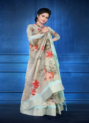 Grey printed jacquard saree with blouse