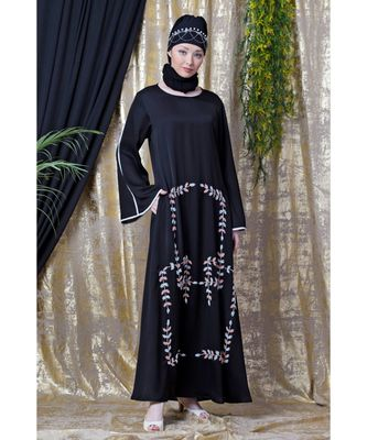 black Nazneen Front hand embroidered Bell Sleeve party Abaya
