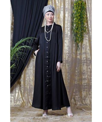 Black Nazneen Front Open With Pleats From Waist Casual Abaya