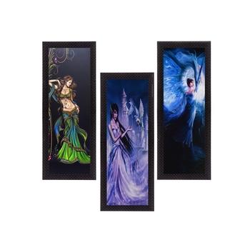Set Of 3 Beautiful Angels Satin Matt Texture UV Art Painting
