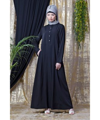 black NAZNEEN front open  daily wear Abaya