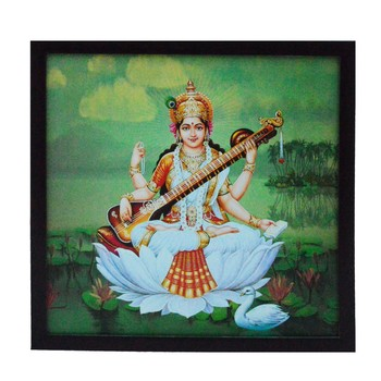 Goddess Laxmi Satin Matt Texture UV Art Painting