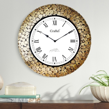 "18"" Antique Coin Studded Brass Metal Decorative Wall Clock for Home"