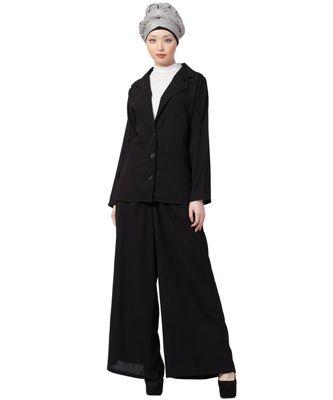 black Nazneen Executive two pc contemprory coat pant cum abaya