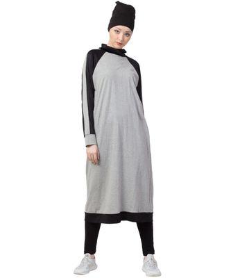 grey Nazneen contrast knits sports Abaya with legging