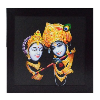 Radha Krishna playing Flute Satin Matt Texture UV Art Painting