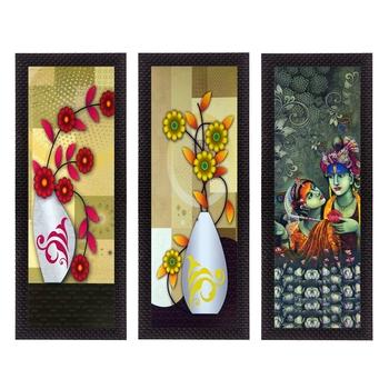 Set Of 3 Radha Krishna and Botanical Satin Matt Texture UV Art Painting