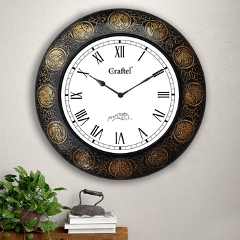 "18""  Zodiac Antique Brass Metal Decorative Wall Clock for Home"