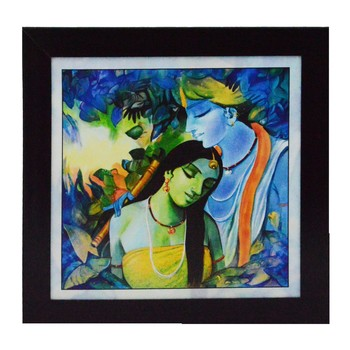 Radha Krishna Love Scene Satin Matt Texture UV Art Painting