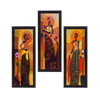 Set of 3 Tribal Lady Satin Matt Texture UV Art Painting