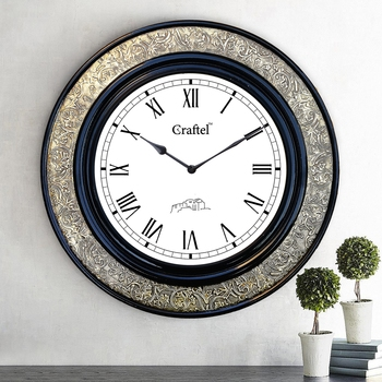 "18"" AntiqueBrass Metal Decorative Wall Clock for Home"