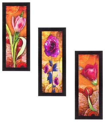 Set Of 3 Decorative Floral Lady Satin Matt Texture UV Art Painting