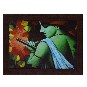 Krishna having Flute Design Satin Matt Texture UV Art Painting