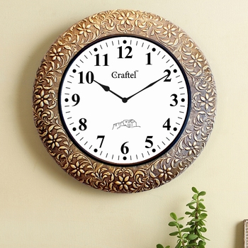 """18"""" AntiqueBrass Metal Decorative Wall Clock for Home"""