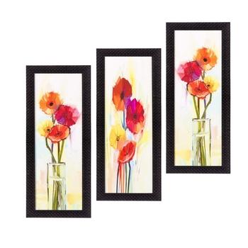 Set Of 3 Decorative Floral Satin Matt Texture UV Art Painting
