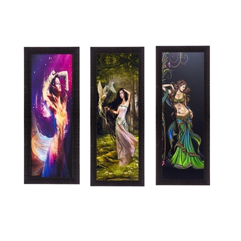 Set Of 3 Dancing Angels Satin Matt Texture UV Art Painting