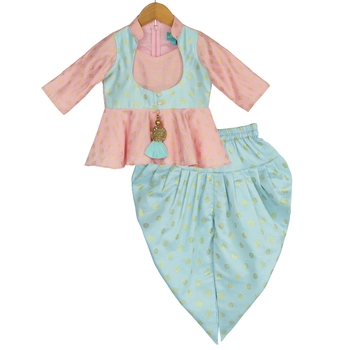 Peplum Top with Dhoti - Pink & Blue