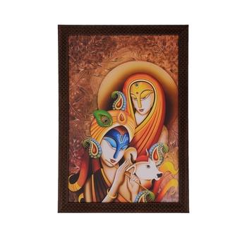Radha Krishna with Calf Satin Matt Texture UV Art Painting