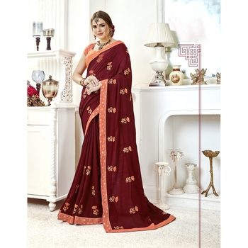 Brown embroidered chanderi silk saree with blouse