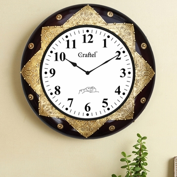 "18"" Antique Brass Metal Fitted Dark Cherry Polished Decorative Wooden Wall Clock"