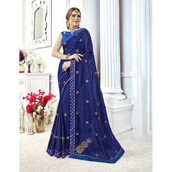 Blue embroidered chanderi silk saree with blouse