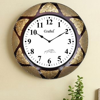 """18"""" Antique Brass Metal Fitted Dark Cherry Polished Decorative Wooden Wall Clock"""