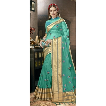 Sea green embroidered tissue saree with blouse