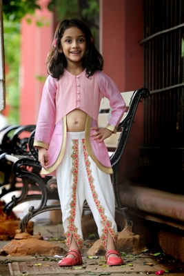 Mughal-Style Top with Colorful Trimmed Dhoti - Pink & White