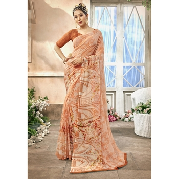 Peach printed chiffon saree with blouse