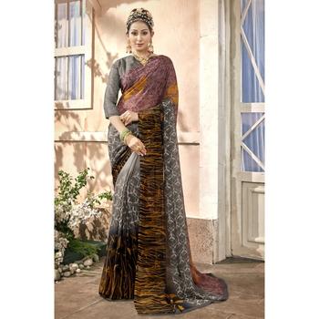 Grey printed chiffon saree with blouse