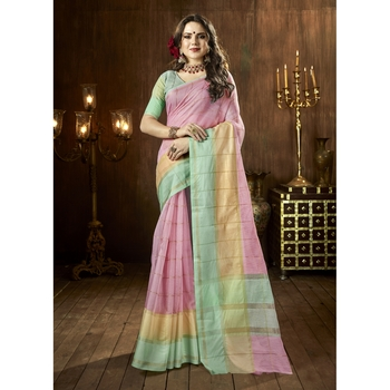 Pink woven cotton silk saree with blouse