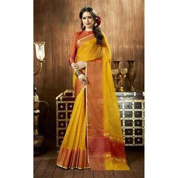Yellow plain cotton silk saree with blouse