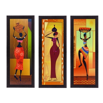 Set Of 3 Tribal Ladies Satin Matt Texture UV Art Painting