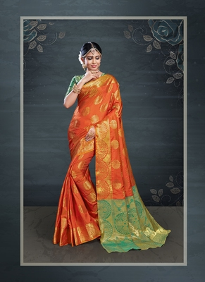Orange woven banarasi silk saree with blouse
