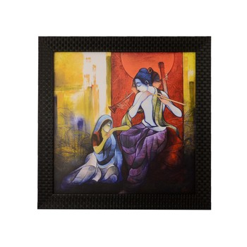 Radha Krishna enjoying Music Satin Matt Texture UV Art Painting