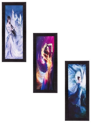 Set Of 3 Beautiful Angels Satin Matt Texture UV Art Painting