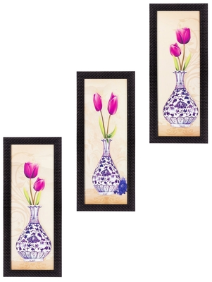 Set Of 3 Decorative Floral Botanical Pot Satin Matt Texture UV Art Painting
