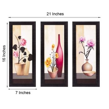 Set Of 3 Decorative Floral Botanical Pot Satin Matt Texture UV Art Painting