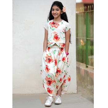 Printed Contemporary Dhoti Skirt & Top - Off White