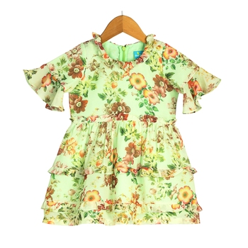 Floral Bell-Sleeves Tiered Dress with Frill Accents - Green