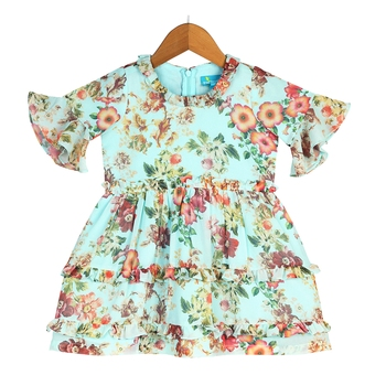 Floral Bell-Sleeves Tiered Dress with Frill Accents - Hue of Blue