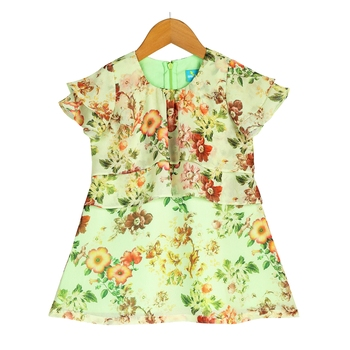 Floral Ruffle Sleeves Dress with Layered Detailing - Green
