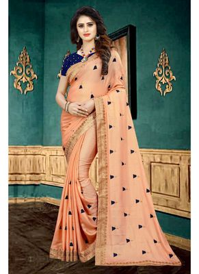 Dark peach embroidered georgette saree with blouse