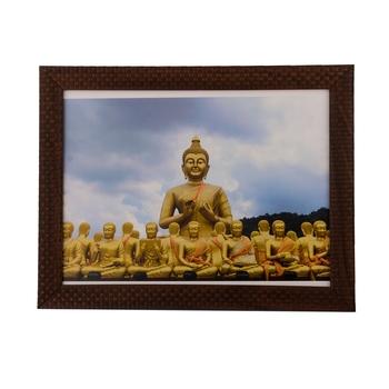 Buddha with Monks Satin Matt Texture UV Art Painting