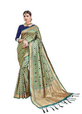 Golden woven silk saree with blouse