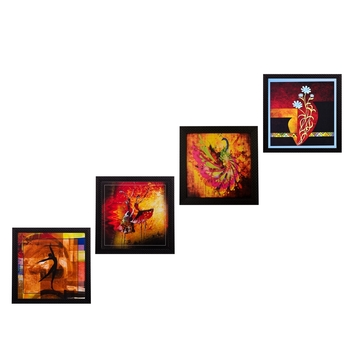 Set Of 4 Dancing Girls Satin Matt Texture UV Art Painting