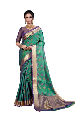 Sea green woven art silk saree with blouse