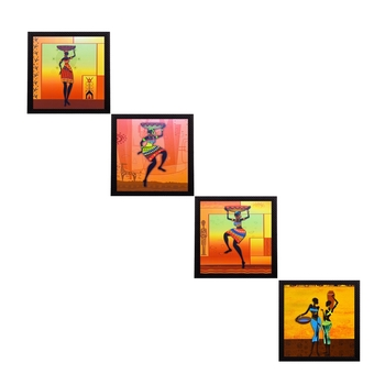 Set Of 4 Tribal Women Satin Matt Texture UV Art Painting