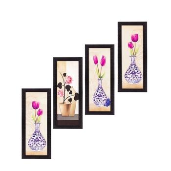 Set Of 4 Botanical Floral Pots Satin Matt Texture UV Art Painting