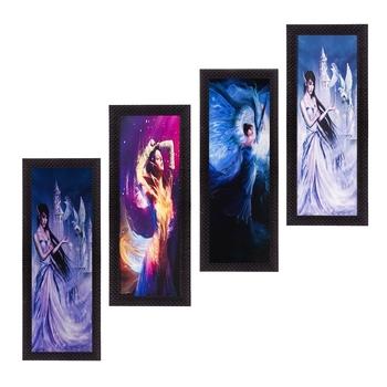 Set Of 4 Dancing Angels Satin Matt Texture UV Art Painting